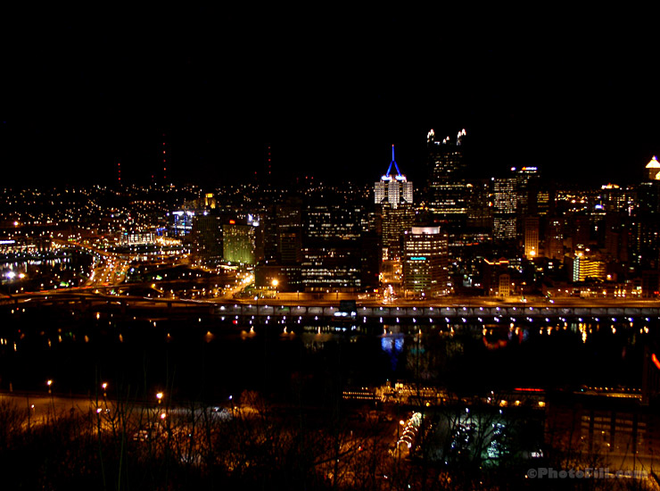 Night view of Pittsburgh, PA