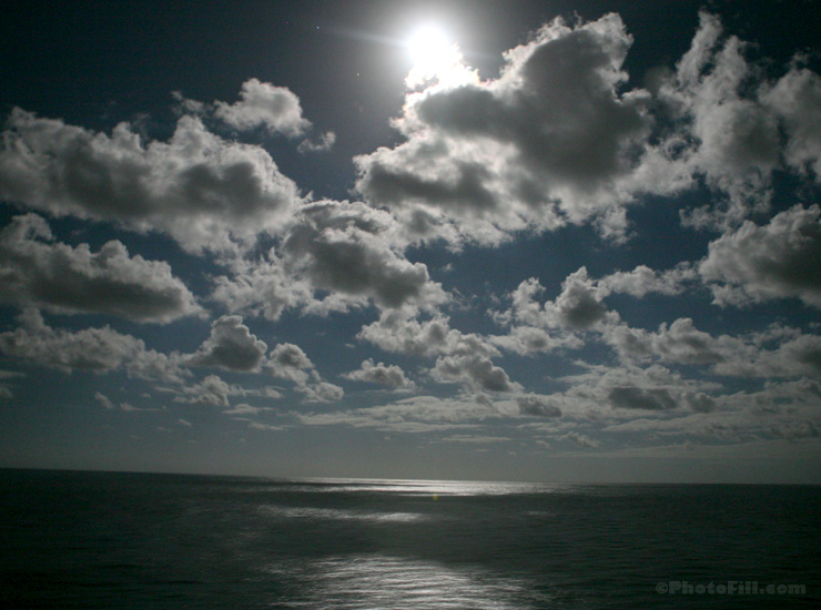 Moon over the Ocean, Caribbean Cruise